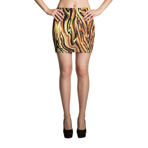 Tiger Stripe Animal Print Mini Skirt, sizes up to XL, by Amanda Martinson Fitted Skirt XS {{ crystalmagicdesigns }}