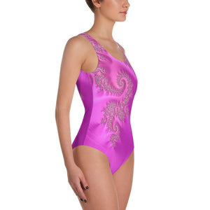 Hot Pink Violet Fractal Pattern One-Piece Swimsuit up to 3X by Amanda Martinson bathing suits {{ crystalmagicdesigns }}