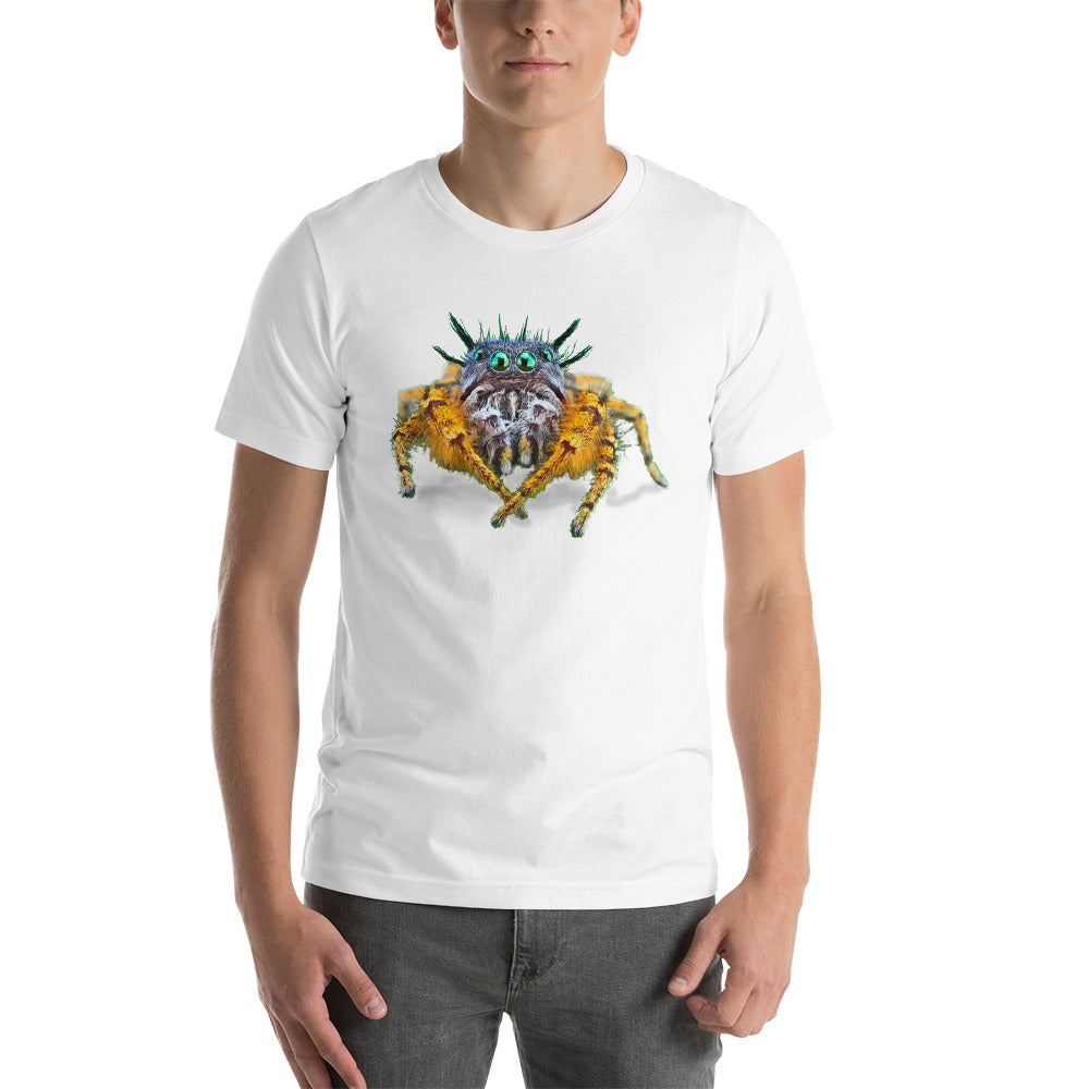 Insect Unisex T-Shirt Bad Hair Day jumping spider Tshirts White / S {{ crystalmagicdesigns }}