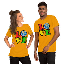 Unisex T-Shirt Love Earth tshirt bright primary colors graphic design save the earth eco message anti Trump tee t Tshirts Gold / S {{ crystalmagicdesigns }}
