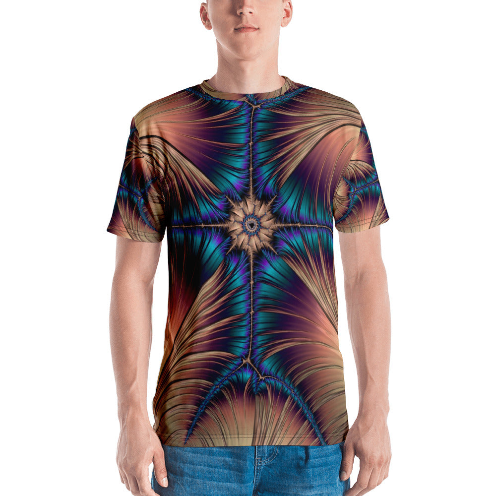 "Fractal men's 3D Tshirt ""Blue Cross"" T-shirt XS {{ crystalmagicdesigns }}"
