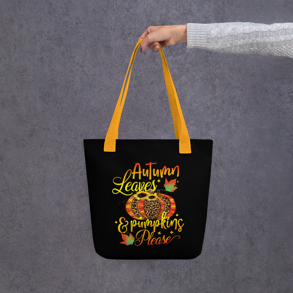 Tote bag autumn fall theme with pumpkins for halloween, grocery, school, shopping