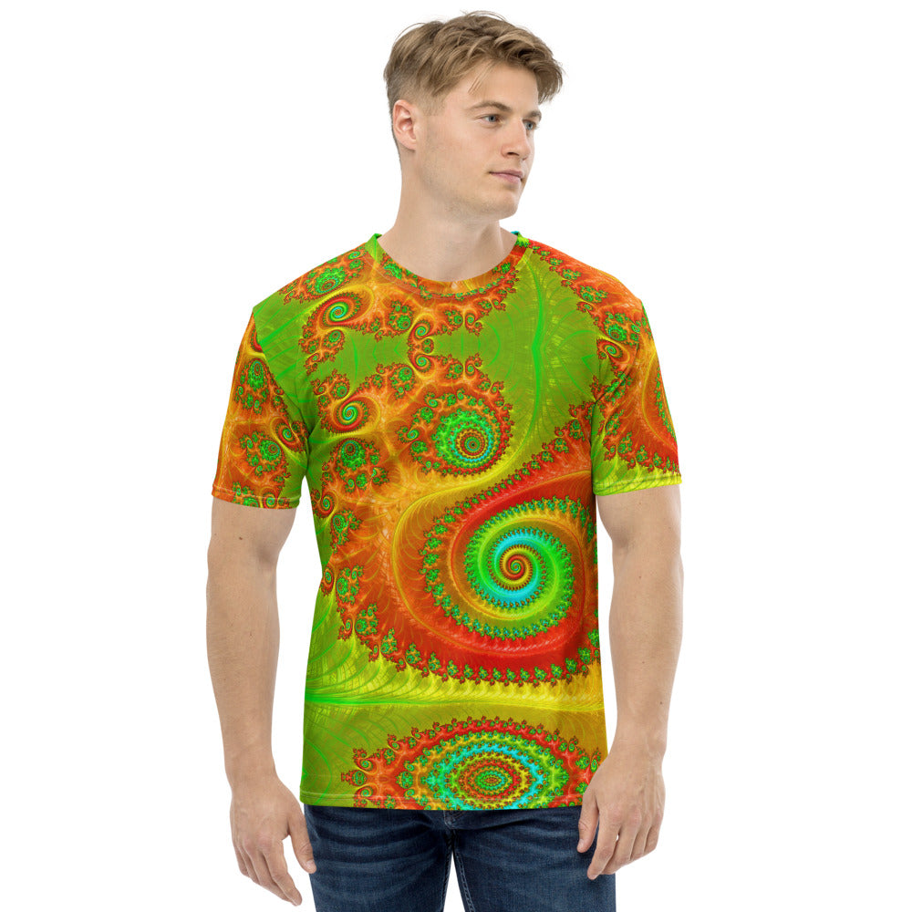 Men's T-shirt Custom Graphic Feathery Green and Orange Fractal