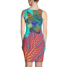 Fractal Body Con Dress, contoured, pencil coral reef sea fans mandarin fish custom underwater art artwork ocean theme party festival wear