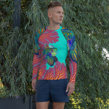 Men's Rash Guard Living Coral mandarin reef fish long sleeve shirt uv protection rash guard {{ crystalmagicdesigns }}