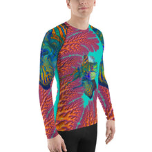 Rash Guard for men Living Coral mandarin reef fish long sleeve shirt uv protection surfer ocean beach wear slim fit spandex polyester