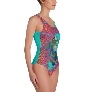 One-Piece Swimsuit Coral Mandarins swimsuit {{ crystalmagicdesigns }}