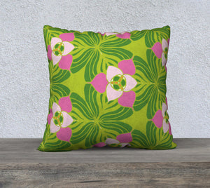"Pink trillium 22"" x 22"" Pillow Case {{ crystalmagicdesigns }}"