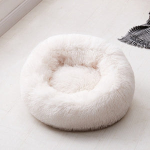 Plush Round Luxurious Pet Bed pet bed creamy-white / OD 80 cm {{ crystalmagicdesigns }}