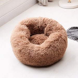 Plush Round Luxurious Pet Bed pet bed coffee / OD 70 cm {{ crystalmagicdesigns }}