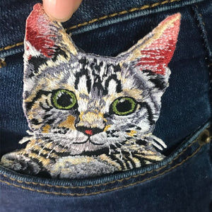 Pocket Cat Patch High Quality Lifelike 3D Embroidery Patches Clothes Fabric Stickers Iron On Cute Cat Applique For Jeans