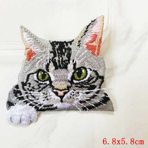 Pocket Cat Patch High Quality Lifelike 3D Embroidery Patches Iron On Cute Cat Applique For Jeans applique patch Antique Copper {{ crystalmagicdesigns }}