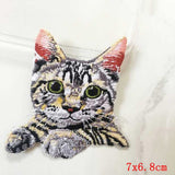 Pocket Cat Patch High Quality Lifelike 3D Embroidery Patches Iron On Cute Cat Applique For Jeans applique patch Dull {{ crystalmagicdesigns }}