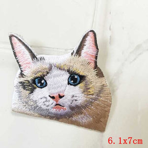 Pocket Cat Patch High Quality Lifelike 3D Embroidery Patches Iron On Cute Cat Applique For Jeans applique patch Gun Metal {{ crystalmagicdesigns }}
