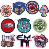 Pulaqi Sew On Applique Rainbow Mushroom Unicorn Patch Embroidery Iron On Cartoon Patches For Kids Clothes Jacket Hat Badge H {{ crystalmagicdesigns }}