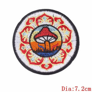 Pulaqi Sew On Applique Rainbow Mushroom Unicorn Patch Embroidery Iron On Cartoon Patches For Kids Clothes Jacket Hat Badge H YELLOW {{ crystalmagicdesigns }}