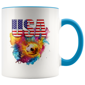 USA Soccer Accent Mug Drinkware Blue {{ crystalmagicdesigns }}