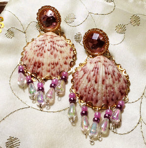 Calico Scallop Shell Earrings by Amanda Martinson Earrings {{ crystalmagicdesigns }}