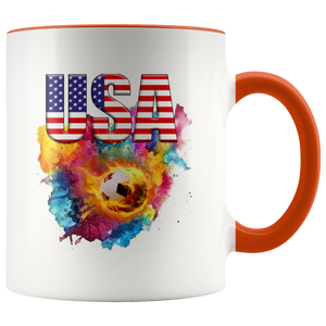 USA Soccer Accent Mug Drinkware Orange {{ crystalmagicdesigns }}