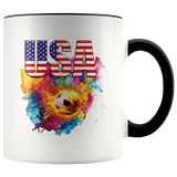 USA Soccer Accent Mug Drinkware Black {{ crystalmagicdesigns }}
