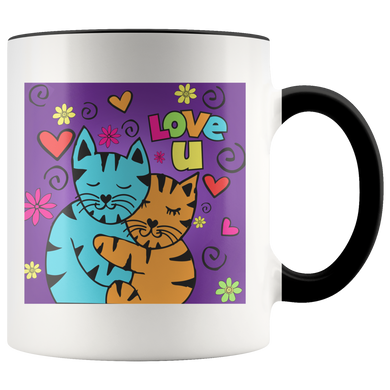 Hugging Cats in Heart Love U Mug Drinkware Black {{ crystalmagicdesigns }}