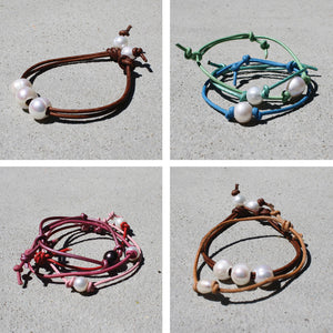 Little Girls Colored Leather & Pearl Bracelet