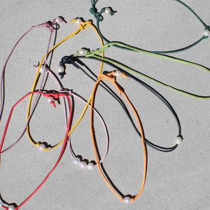 Little Girls Colored Leather & Pearl Necklace