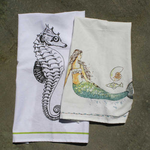 Mermaid / Seahorse Kitchen Hand Towel Cotton Tea Towels