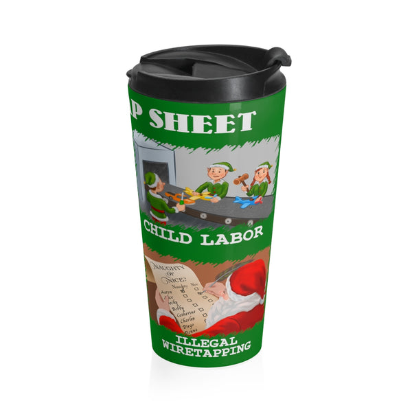 Santa's Rap Sheet - Stainless Steel Travel Mug