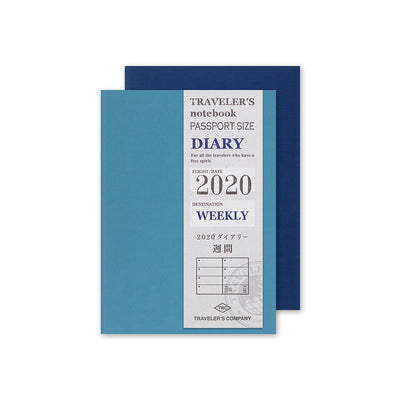 Traveler's Notebook Refill 2020 Weekly Diary for Passport Size