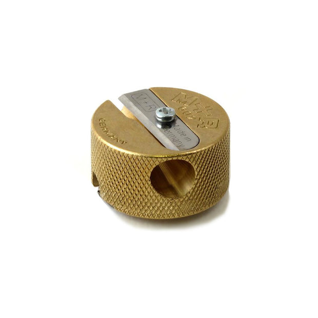 M+R Round Double Hole Brass Pencil Sharpener 602 - noteworthy