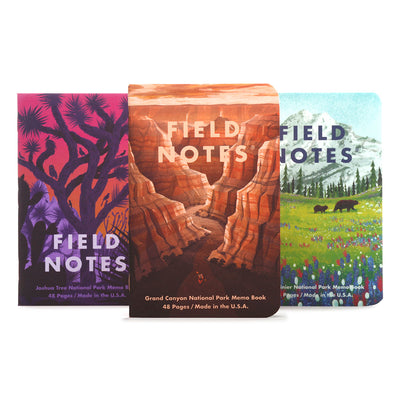 Field Notes Summer 2019 Edition Memo books - National Parks - Grand Canyon, Joshua Tree, Mt. Rainier - noteworthy