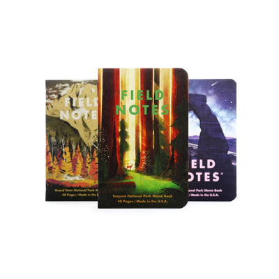 Field Notes Summer 2019 Edition Memo books - National Parks - Grand Teton, Sequoia, Arches - noteworthy