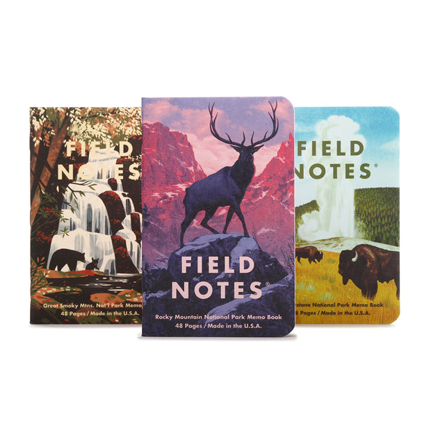 Field Notes Summer 2019 Edition Memobooks - National Parks - Rocky Mountain, Great Smokey Mountains, Yellowstone - noteworthy
