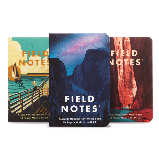 Field Notes Summer 2019 Edition Memobooks - National Parks - Yosemite, Acadia, Zion - noteworthy