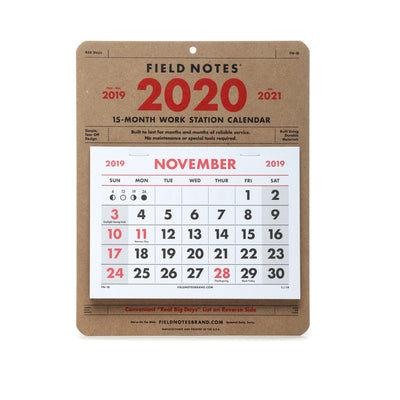 Field Notes Workstation Calendar 2020