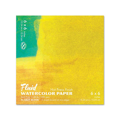 Fluid Watercolor Hot Press Paper 6 x 6 - noteworthy