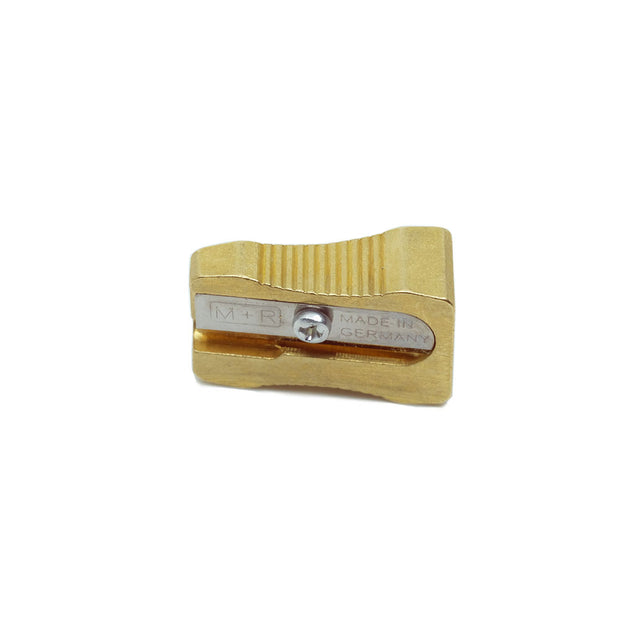 M+R Single Hole Wedge Brass Pencil Sharpener - noteworthy
