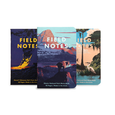 Field Notes Memo books - National Parks Series F - Glacier, Hawai'i Volcanoes National Park,  Everglades National Park