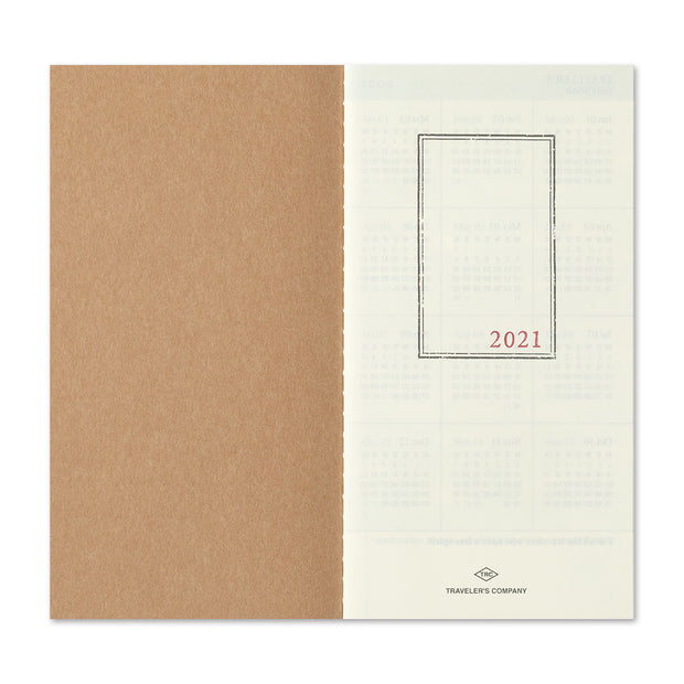 Traveler's Notebook Refill 2021 Monthly Diary for Regular Size