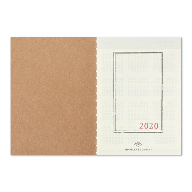 Traveler's Notebook Refill 2020 Monthly Diary for Passport Size