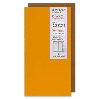 Traveler's Notebook Refill 2020 Weekly Vertical Diary for Regular Size