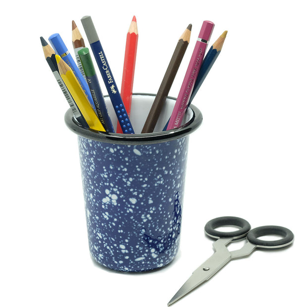 Speckled Enamel Pencil Pot, Blue - noteworthy