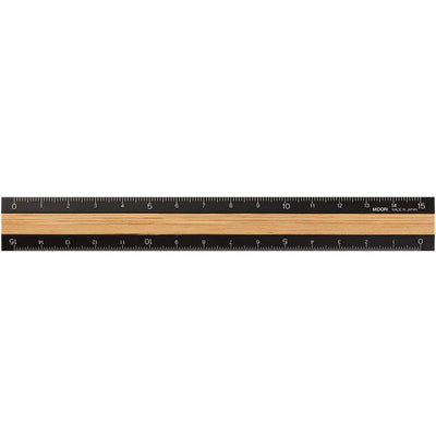 Aluminum & Wood Ruler, 15cm - noteworthy