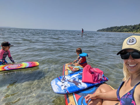 relax on sup with kids