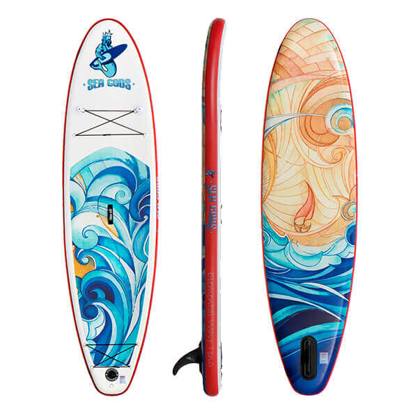 Elemental Wave 2021 iSUP (front, side, and rear view) - inflatable light weight sup