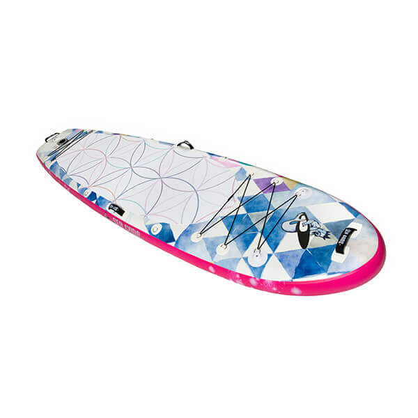 Infinite Mantra 2021 iSUP yoga paddle board top view.  Sea Gods Yoga Paddle Board ships free to Canada and USA