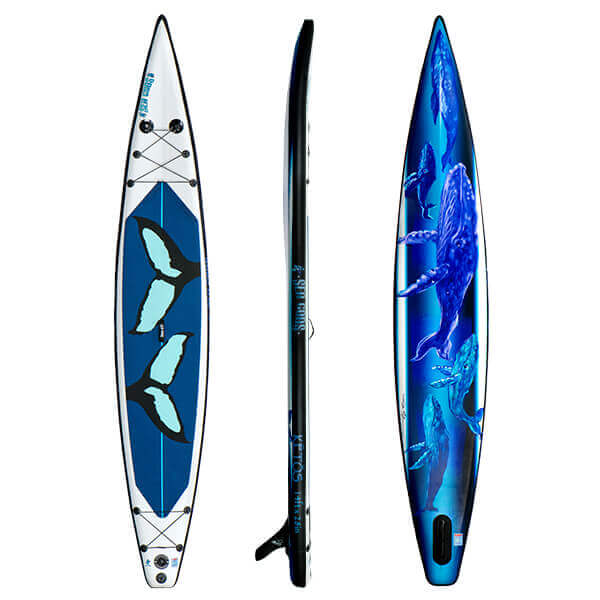2021 Ketos Racing iSUP (front, side, and rear view). Racing Paddle Board