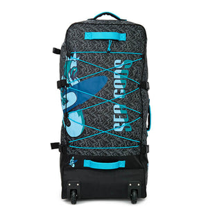 Sea Gods wheeled hiking backpack with blue handles (front view)