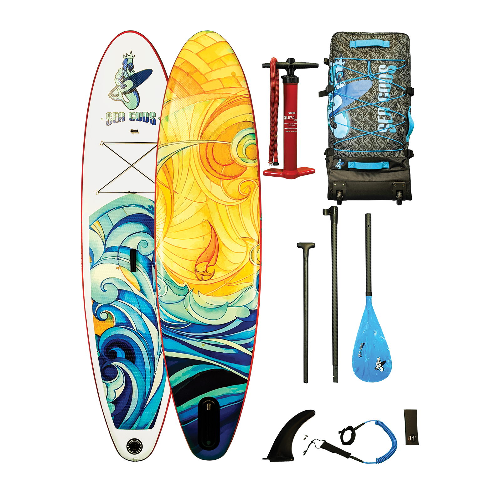2020 Elemental Wave Ten6 Inflatable Paddleboard (Very Mobile + Art Design) by Sea Gods